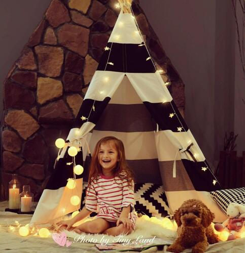 Kids Teepee Tent Stripe Indian Linen Tents for Toddlers Indo