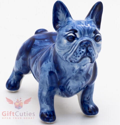 Gzhel Porcelain French Bulldog Dog Figurine handmade symbol of 2018 New Year