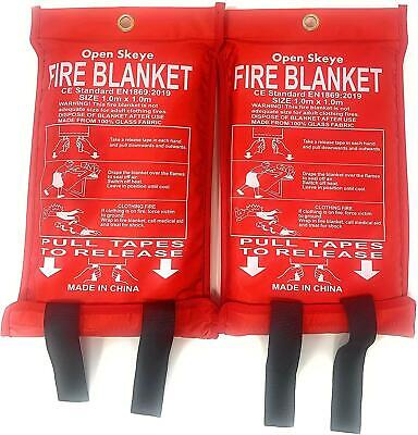 2 Pack Fire Blanket Fiberglass Emergency Survival Safety Cover for Kitchen Home