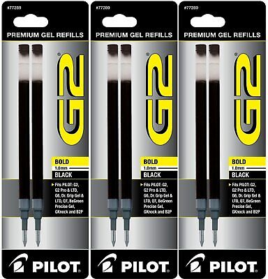 Pack Of 3 Pilot G2 Gel Ink Refill 2- For Rolling Ball Pens Bold Point Black