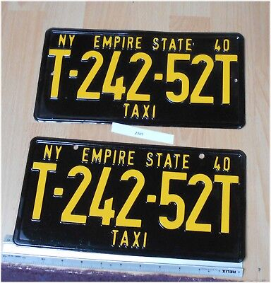 NY Empire State Taxi LicenceLicense Tag T-242-52T Front & Rear Set