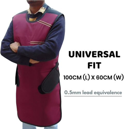 Xray Protective Apron .5mm Lead Equivalent Protection with Hanger Maroon USA