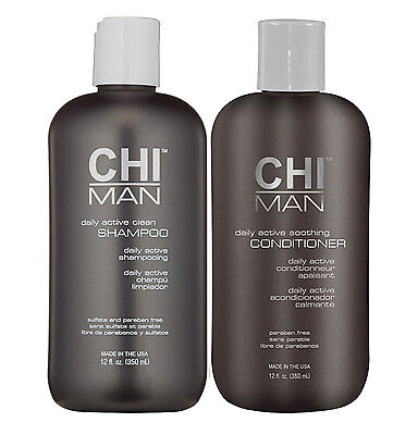 CHI Man Daily Active Clean Shampoo and Soothing Conditioner 12oz (Duo Pack)