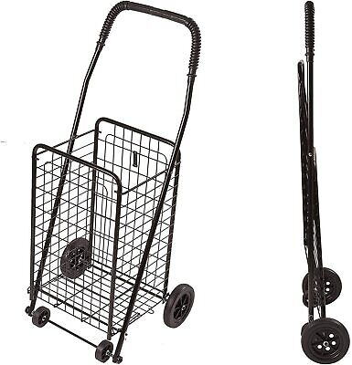 Folding Shopping Cart Basket With Wheels For Laundry Travel Grocery Shopping New