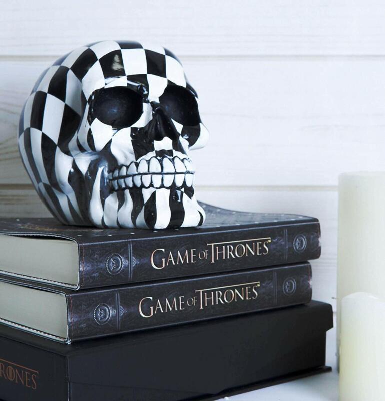 "Ebros Harlequin Black And White Squares Checkered Skull Figurine Statue 6"" Long"