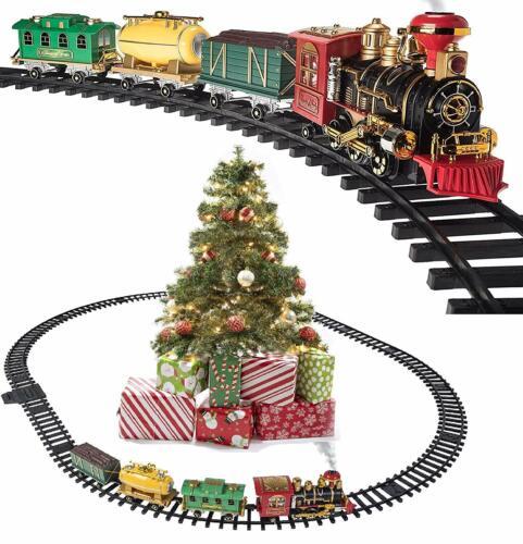 Prextex Christmas Train Set- Around Christmas Tree w/ Real Smoke, Music & Lights