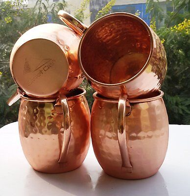 4 X Copper Moscow Mule Mug 100% Pure Solid Copper Mugs Cups Unlined 16 Oz