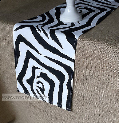 Black and White Zebra Table Runner Table Centerpiece Dining Room Home Decor
