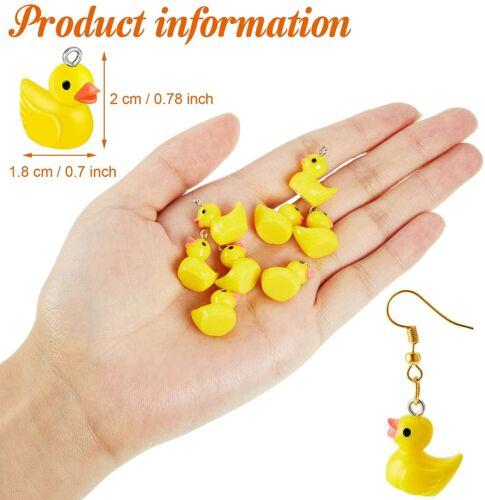 4 Rubber Ducky Charms Yellow Resin Cut Kawaii Jewelry Supplies Set Bath *
