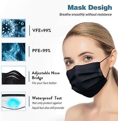 50 / 100 PCS Black Face Mask Mouth & Nose Protector Respirator Masks USA Seller