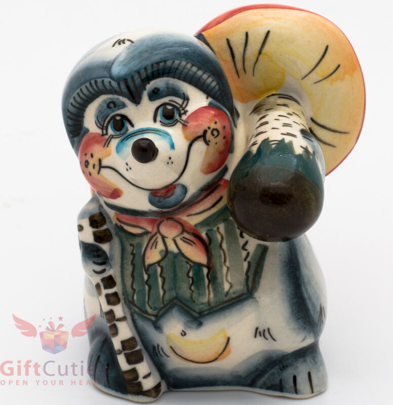 Russian Gzhel porcelain Hedgehog with mushroom figurine handmade