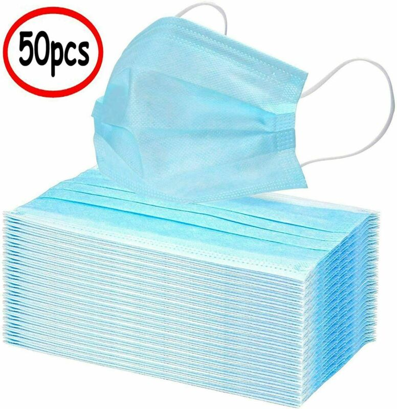 Face Mask Mouth & Nose Protector Respirator Masks with Filter Lot 50 PCS