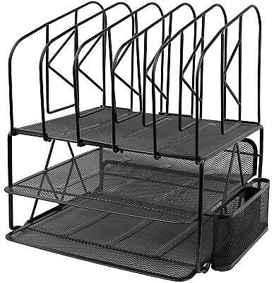 Greenco Mesh 2 Tier Desk File Organizer Shelves With 5 File Sorter Sections Bla