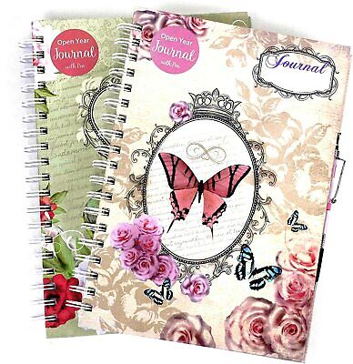 Open Year Journal Notebook Ruled Vintage Blank Diary with Pen Undated Hardback