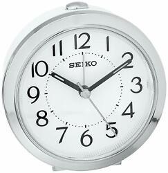 Seiko QHE146SLH Bedside Alarm Clock w/ Alarm & Snooze & Dial Light, Silver