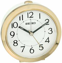 Seiko QHE146GLH Bedside Alarm Clock w/ Alarm & Snooze & Dial Light, Gold