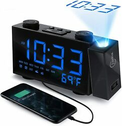 WAPASY Projection Alarm Clock with Digital FM Radio, Large 6 White LED Display