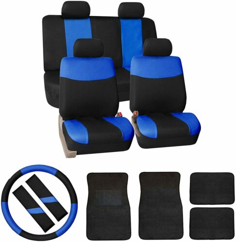 FH Group Modern Flat Cloth Car Seat Covers Combo Blue
