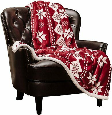 "Microfiber Fleece Sherpa Holiday Throw Blanket - Vibrant Burgundy (50x65"") - Red"