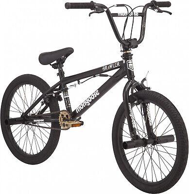 Mongoose BRAWLER Boys BMX Bike, Steel freestyle frame, Single Speed, Black,20