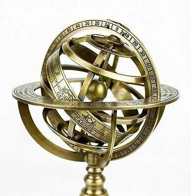 Vintage Nautical Solid Brass 12 Inches Armillary Sphere World Globe - Home Decor
