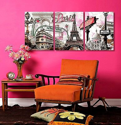 Paris Wall Art Print Canvas Framed Picture Decor Eiffel Tower Modern Painting