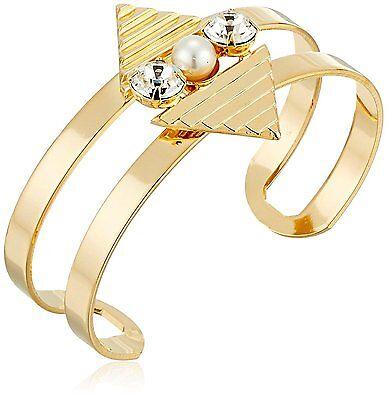 Yochi 18K Gold Plated Cleopatra Pyramid Open Pearl & Crystal Cuff Bracelet