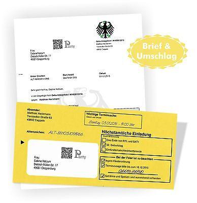 en Brief mit Umschlag originell lustig 20 30 40 50 60 70 (Einladungen Geburtstag)