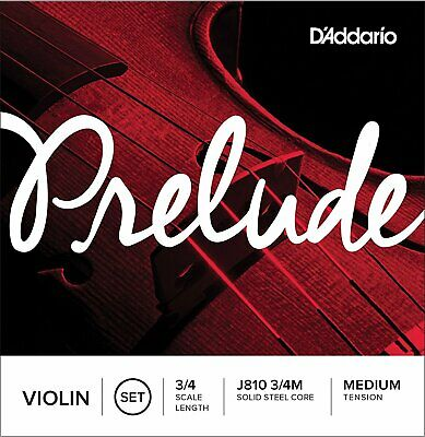 D'addario J810 3/4M Prelude Violin String Set, Medium Tension 3/4 Scale