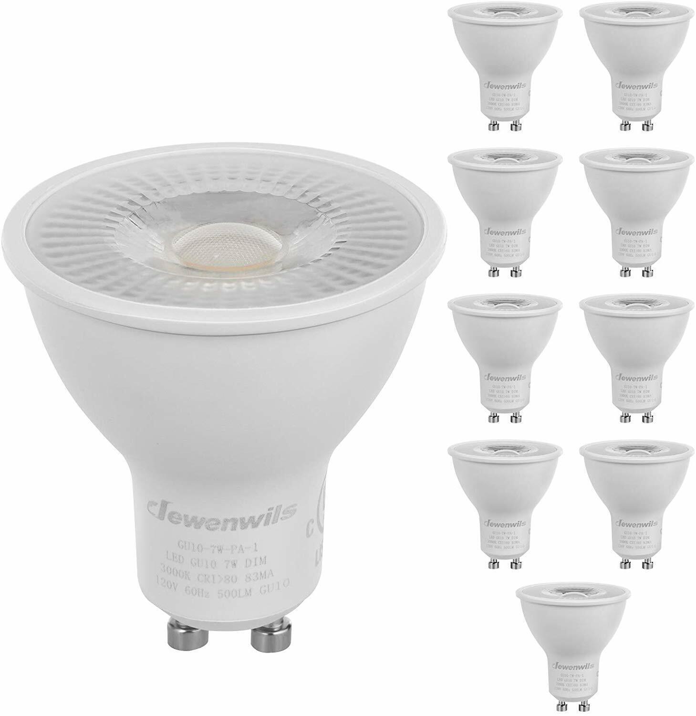 DEWENWILS 10-Pack GU10 LED Dimmable Bulb Warm White Track Li