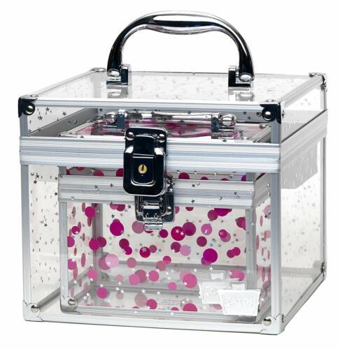 Cosmetic Make Up Case Organizer Clear Acrylic Cube Lock Key