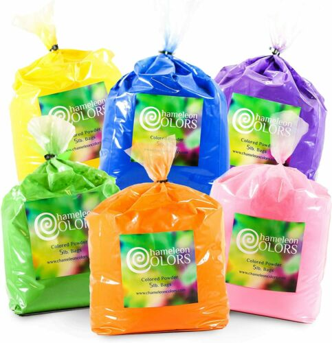 Holi Color Powder 6- 5 pound packages by Chameleon Colors ***FREE SHIPPING***