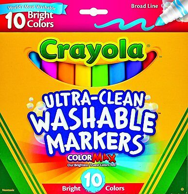Crayola Ultra Clean Washable Broad Line Bright Markers 10 Count New