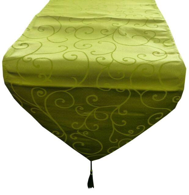 35cm x 152cm Lime Green Damask Table Runner - Wedding Accessories - (MR1LG)