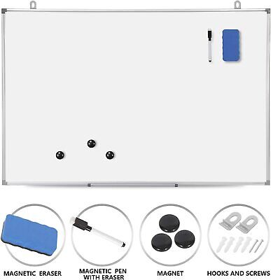 Magnetic Whiteboard 36 X 24 Inch Dry Erase White Board Wall Hanging Board- New