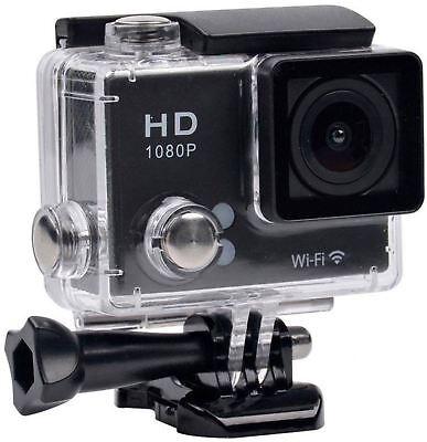 TEC+ Full HD 1080p WiFi Waterproof Action Camera & Mounting Accessories - Black