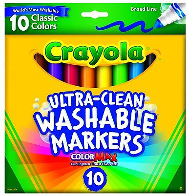 Crayola Ultra Clean Broad Line Classic Washable Markers 10 Count New