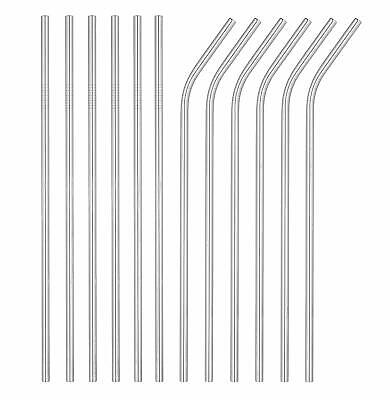12 Pack Stainless Steel Metal Straws 3 Cleaning Brush Reusable Drinking For 30oz