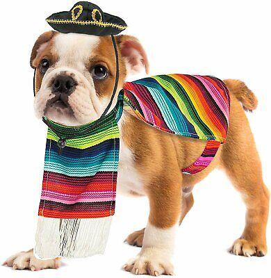 Dog Sombrero And Poncho (Skeleteen Mexican Serape Dog Costume - Cinco de Mayo Poncho and)