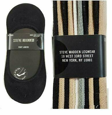 Steve Madden Women's No Show w/ Grip Foot Liners Socks 10 Pairs -Shoe Size: 5-10