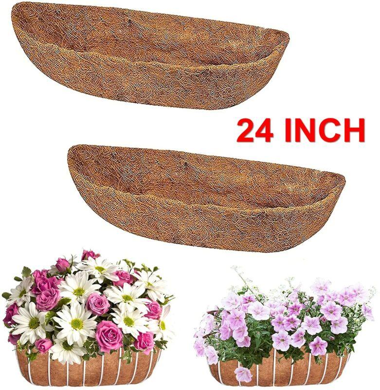 2Pcs 24 inch Coco Trough Liner Fiber Window Box Garden BSKT Flower Planter Pot