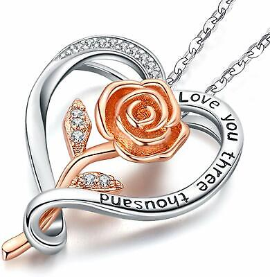 HEART NECKLACE Sterling Silver Rose Gold Plated Flower Pendant