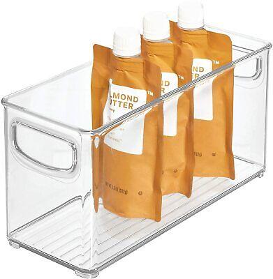 Pantry Storage Box with Handles, Deep and Slim BPA-free Plastic Fridge Box