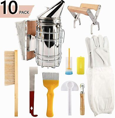 10 Pack Beekeeping Supplies Tools With Stainless Steel Bee Hive Smoker Equipment