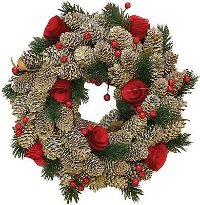 "10"" Pine Cones with Berries and Flowers Artificial Christmas Wreath - Unlit"