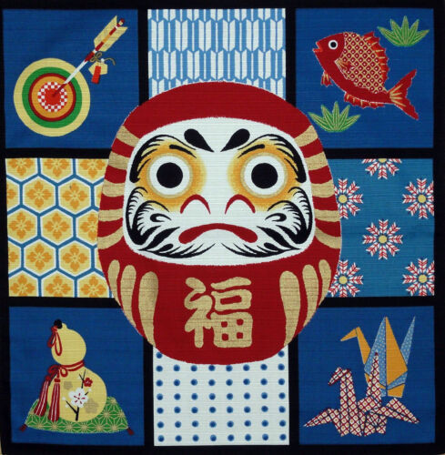 """Japanese Furoshiki Wrapping Cloth Scarf Tapestry 19.75"""" Cotton Red Lucky Daruma"""