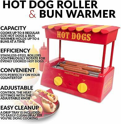 Hot Dog Roller Grill Steamer Nostalgia Bun Warmer Home Dinner Cooking Machine
