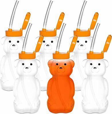 Special Supplies Juice Bear Bottle Drinking Cup with Long Straws, 6 Pack, ...