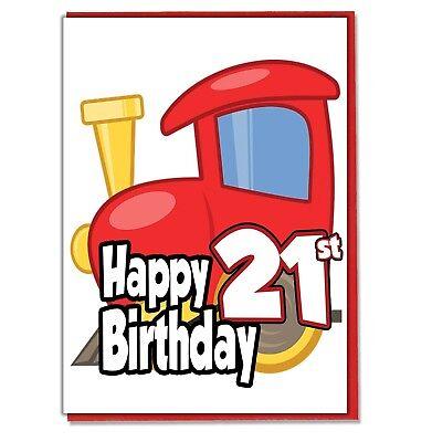 Toy Train 21st Birthday Card - Mens Son Husband Friend Brother Dad Grandad