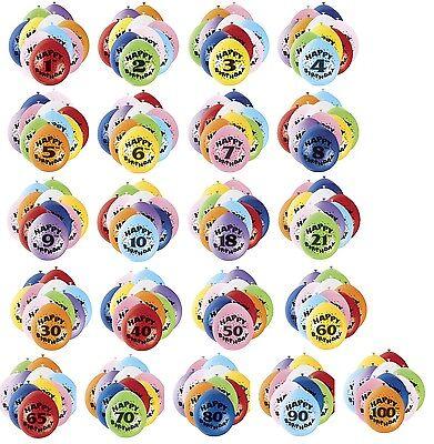 10er Packung Luft Gefüllte Geburtstagsparty Luftballons Alter 1-100 Dekorationen ()